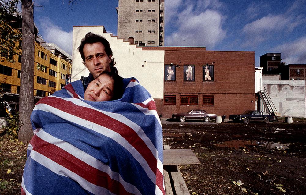 Canada, couple SDF, femme Inuit à Montréal